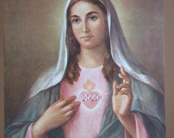 "Immaculate Heart of Mary picture Catholic art print  - 12x16"" by LaFuente - ready to be framed!"