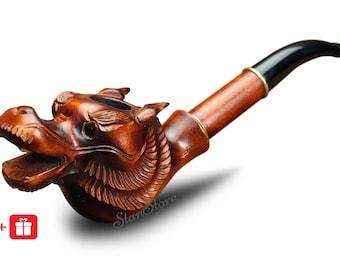 DRAGON Smoking PIPE Hand Carved Smoking Bowl Wooden Pipe Tobacco pipe Khaleesi Dragon Pipe Game of Thrones Groomsmen gift Custom Engraving