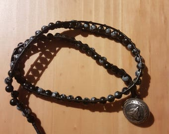 Black Leather Wrap Obsidion Bracelet - Double
