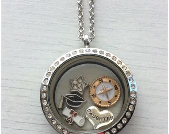 Stainless Steel Personalised Crystal Glass Memory Locket Necklace Filled with Floating Charms Graduation Gift Daughter Sister Son Friend