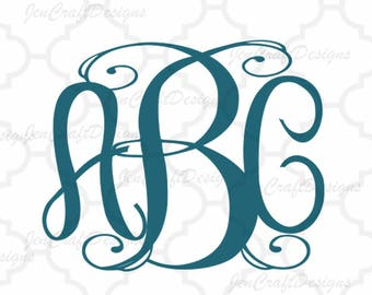 Classy Vine Interlocking Monogram Alphabet svg Upper & Lower Cutting File- SVG EPS Dxf Cut Files A-Z Alphabet Shilhouette and Cricut Ds