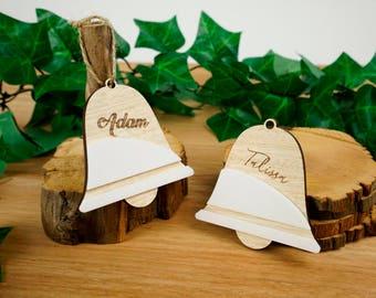 Personalised white timber Christmas Tree decoration - Christmas bell shape. FREE SHIPPING AU!