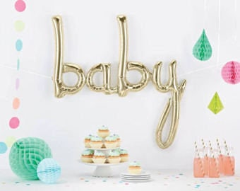 Baby Shower Balloon White Gold - Boy or Girl Baby Photo Prop We're Pregnant Letter Balloons Banner Gold Cursive Shower Decoration Ideas Baby
