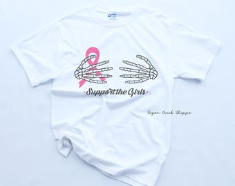 Support The Girls Breast Cancer Awareness Tee | Breast Cancer Awareness Shirt | Halloween Breast Cancer Shirt | Breast Cancer Tee