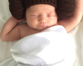 Princess Leia Hat - Star Wars Baby Gift - Starwars Baby Shower Gift - Baby Princess Leia Hat - Newborn Princess Leia Beanie