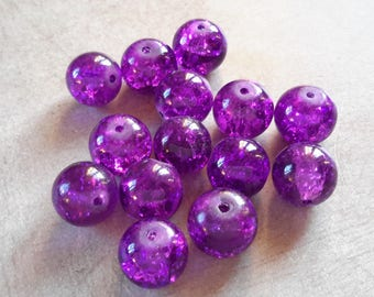 5 pcs, glass beads, large round beads, Crackle purple dragon - vein 12 mm