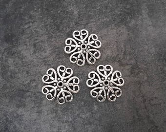 Large bead caps flower, ethnic heart caps, silver, 2.2 cm metal dome caps