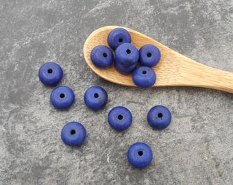 Howlite stone beads beads spacer donuts, ethnic beads, 8 x 4 mm blue rondelle