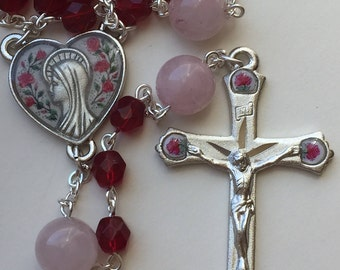 Handmade Catholic Rosary, Rose Enameled Pewter with Ruby Red Czech Glass Beads, Rose Quartz Paters, Honors Our Lady Mary, Free Shipping USA