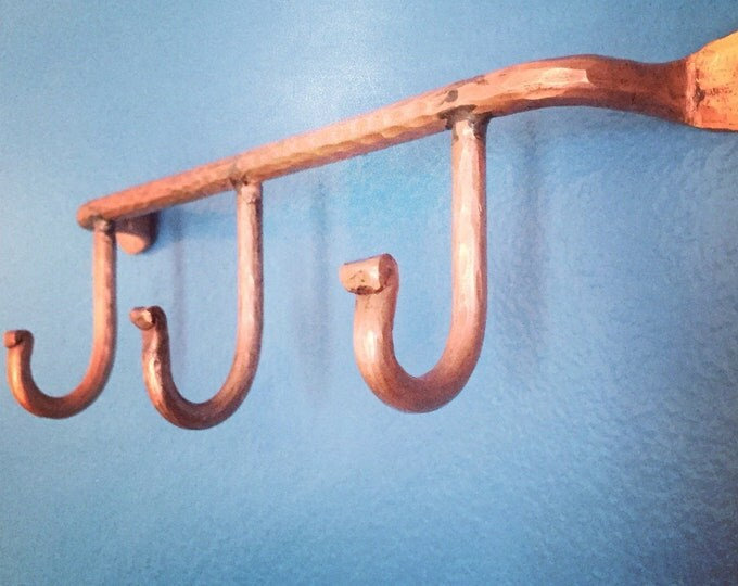 Handcrafted Hammered Copper Coat Rack