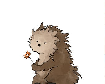 Porcupine Nursery Art Print - Animal Illustration for Kids Room