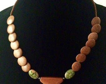 Goldstone and Green Jasper Necklace