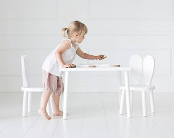 Set of two Wooden Kids chair + table / white
