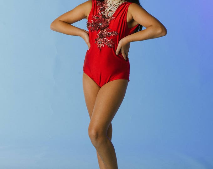 Custom dance costume, AVAILABLE TO SHIP size lc ,dance leotard, contemporary dance costume, rhinestoned red leotard, red leotard