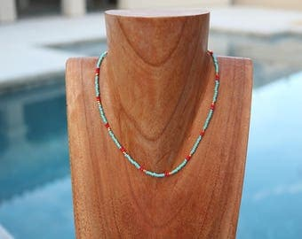 Teal, Red, Gold Choker// Gold Beaded Choker Necklace // Patterned Choker // Seed Bead Choker // Tribal Choker / Teal Choker // Turquoise Red