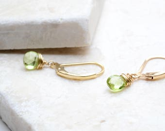 Dainty Peridot earrings in gold, Peridot Jewelry, August Birthstone, Green Peridot, 14K gold filled, Her Birthday Gift, Green Earrings gold