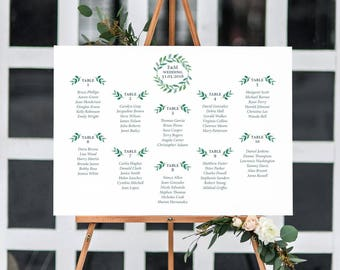 Watercolor Wedding Seating Chart Printable Wedding Seating Plan Template Wedding Table Number Wedding Seat Planner Leaves Wreath G1