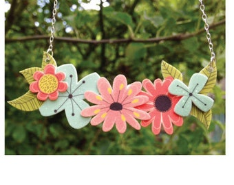 Flower Necklace, summer jewellery, shrink plastic jewellery, floral jewelry, flower jewelry