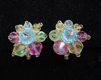 Western Germany Pastel Beaded Cluster Clip Back Earrings - Pastel Fruit Salad - Estate Jewelry