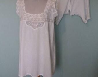 Edwardian shift chemise and bloomers drawers set Vintage White cotton with lace pyjamas set pajama antique lingerie medium large crotchless
