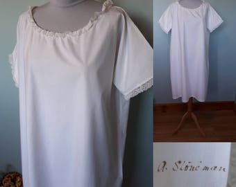 Victorian cotton shift, large extra large size with original laundry mark antique cotton lace trim nightgown vintage nightdress or chemise