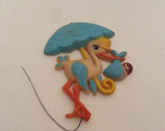 Vintage Kitschy Stork With Baby Cake Topper