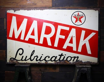 "Original 1940's Texaco Marfak Lubrication Gas Station Advertising Vintage Sign 60"" X 36"" Large Metal Display Star Automotive Cars Trucks Red"