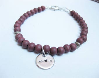 Bracelet - wood beads, wood-Pearl Jewelry,