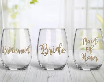 Glitter Bridesmaid, Bride, & Maid of Honor Stemless Wine Glass Gift -  Bridal Party Gifts - Wedding Party Gifts - Bridesmaid Proposal