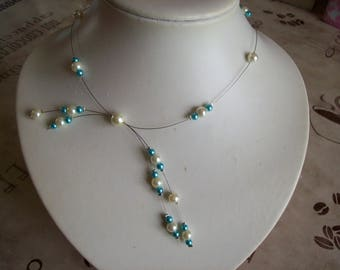 Ivory pearls jewelry set wedding bridal set / turquoise feather ceremony evening parties
