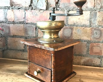 Large 1940s Coffee Grinder/Vintage Coffee Grinder/Boho Decor/Gifts for him/Vintage Cafe Decor/Vintage Quirky Decor/coffee lovers gifts