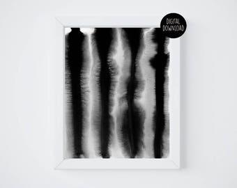 black lines watercolor painting // 8x10 // printable digital download