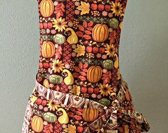 Thanksgiving Harvest Reversible Apron, Women's Pumpkin and Leaf Apron
