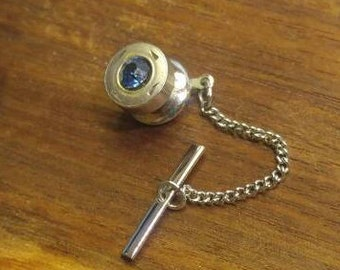 Silver with Sapphire Blue Stone Tie Tack