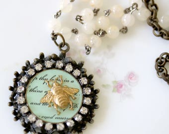 Bee Jewelry - Honey Bee Necklace - Bee Necklace - Bee Jewelry Gift - Bead Necklace for Mom - Beaded Necklace for Her - Bee Pendant