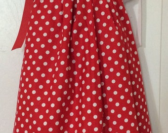 Red and White Polka Dots Pillowcase Dress Size 2T