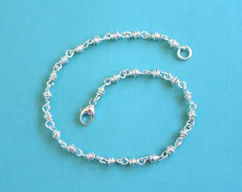 Sterling Silver Anklet, Silver Ankle Bracelet, Silver Spiral Anklet, Sterling Anklet, Silver Chain Anklet, Ankle Chain, Summer Jewelry