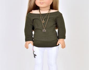 Pullover 18 inch doll clothes Olive Green
