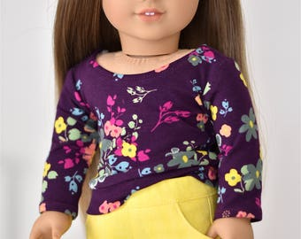 Denim Short 18 inch doll clothes Yellow