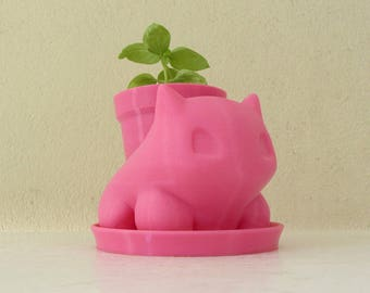 Pokemon Planter / Bulbasaur Planter / Pink Planter / Small Succulent Planter / 3D printed bulbasaur / Cactus Planter / Mini Planter