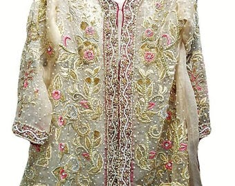 Beige Organza Peplum Jacket with Gold Embroidery and French Knots Indian, Pakistani Wedding Formal Dress