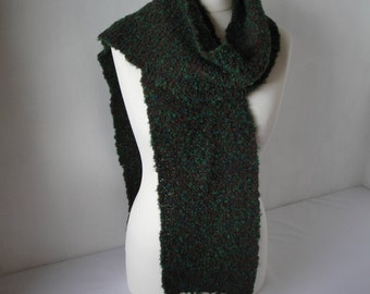 unisex green scarf, wool knit neckwarmer, scarf plaited trim, scarf with fringing, boucle knit scarf, green multi scarf, gift for him or her