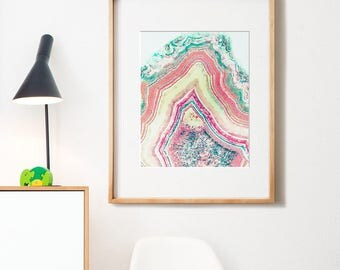 Agate print, PRINTABLE art, Coral art, Pink art, Agate art, Watercolor print, Modern art, Abstract art, Agate decor, Minimalist print, Teal