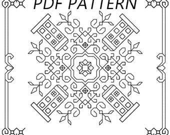 Doctor Who TARDIS Blackwork Embroidery Pattern   Digital Cross-Stitch PDF Pattern   Nerdy Geeky Blackwork Pattern   Instant Download