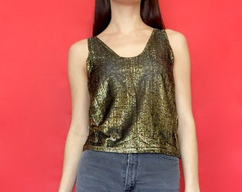 Vintage 90s 80 Black and Gold Shiny See Through Sleeveless Tank Top Crop Top