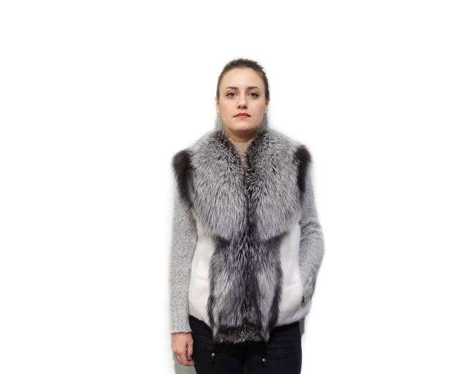 White Mink & Silver Fox Fur Vest F791