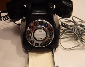 Black Vintage Telephone, Retro Telephone Push Button Dial, Working Telephone, Black Telephone, Retro Telephone, Replica Phone, Retro Decor