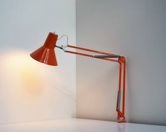 Architect lamp in bright orange made by Lyskaer - Danish design from the 1970s