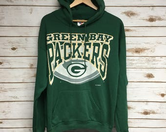 Vintage 90's Green Bay Packers hooded sweatshirt Packers football soft and lightweight green hooded sweatshirt Wisconsin football - Medium