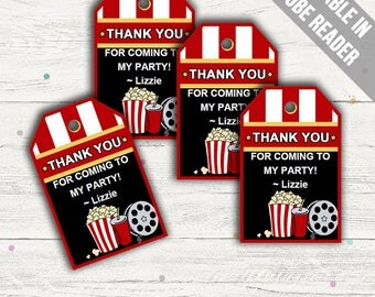 Movie Party Favor Tags (Movie Thank You Tags). Printable PDF (EDITABLE). Instant Download.